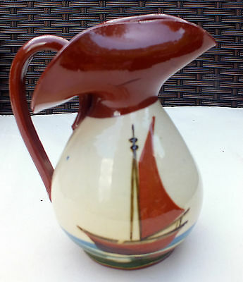 "Vintage  Motto Ware unusual jug "" Time and Tide wait for no man "" Sailing boat"