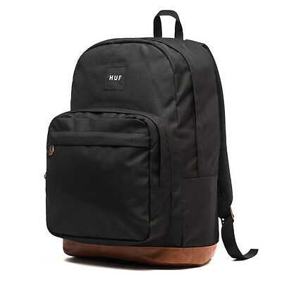 "HUF ""Utility"" Backpack (Black) Canvas Leather Right Pack School Book Bag"