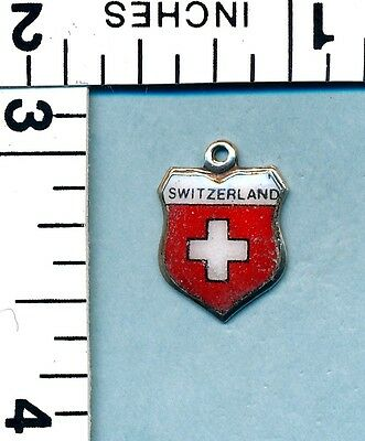 Vintage 800 Silver Enamel  - Swiss Flag Switzerland Travel Shield  Charm