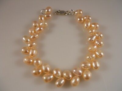 Pink Oval Shape Freshwater Pearl Bracelet With Sterling Silver Clasp
