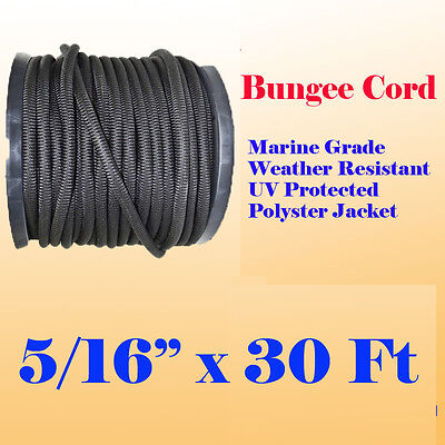 "5/16"" x 30 Ft (10 Yard) Premium Marine Grade Bungee Shock Stretch Cord UV Black"