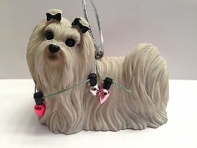 Dog Christmas Ornament Maltese Lhasa Apso Shih Tzu Long Hear