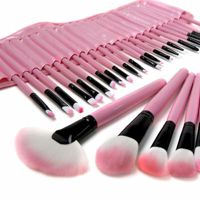 32PC Cosmetic PINK Professional Soft Eyebrow Shadow Makeup Brush Set + Pouch Bag