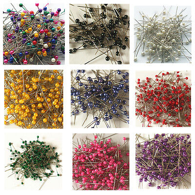 800 Coloured Plastic Round Pearl Head Pins Value Pack Dressmaker Tailor Craft