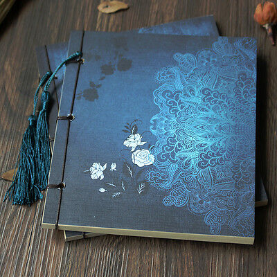 Chinese Style Flower Notebook Retro Vintage Classic Thread Binding Diary Journal