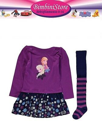 Completo frozen vestito + collant  originale disney