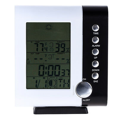 Wireless LCD Weather Station Alarm Clock 433MHz Temperature Humidity Thermometer