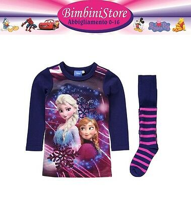 Completo frozen vestito + collant  originale disney anna e elsa