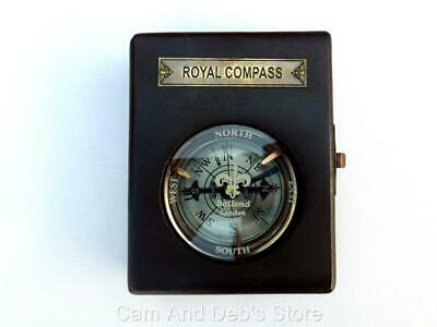 Royal Compass In Polished Wood Box New