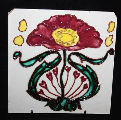 "Antique Longwy Majolica Art Nouveau Tubelined 6"" Tile"