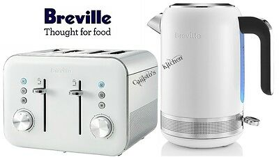 Breville High Gloss Kettle and Toaster Set White Kettle & 4-Slice Toaster New
