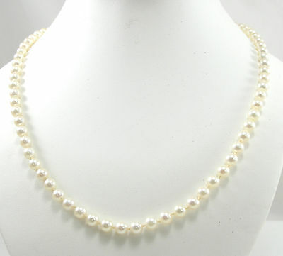 """Mikimoto 6mm Akoya Cultured Pearl Necklace 22"""" 18K Yellow Gold Clasp"""