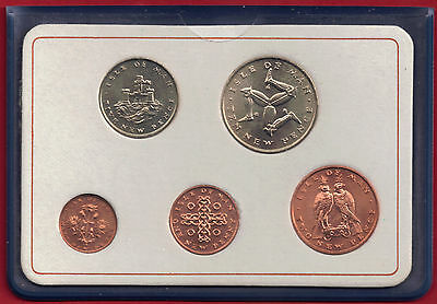 IOM Isle of Man Manx 1971 First Low Value Decimal Coins Set [5] Unc in Wallet