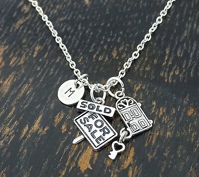 Real Estate Agent Necklace, Real Estate Jewelry, Realtor, Remax - PERSONALIZED