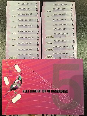 2016 New $5 AA FIRST Prefix note NEXT GENERATION of BANKNOTE very rare