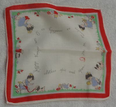 Child's  Iron On Tuesday Girl And Pets Red Edge  Handkerchief