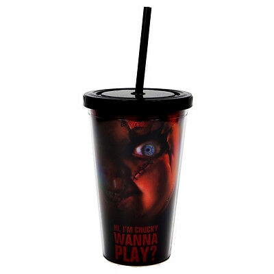 Bride of Chucky Collectible: 2013 Child's Play Chucky Doll Eye Cup w Straw 2426