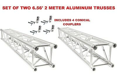 Set Of Two (2) Pair 6.56Ft (2 Meters) Straight Square Aluminum Truss Segments