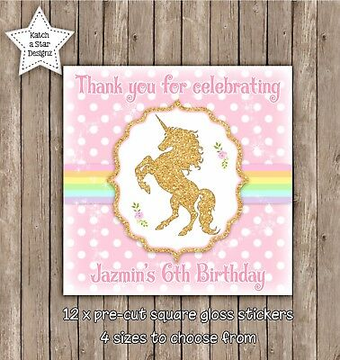 Unicorn Rainbow Faux Gold Birthday Personalised Square Gloss Party Stickers X 12