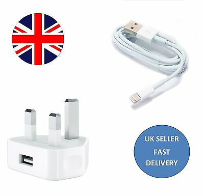 Mains Charger USB Wall Plug+Data Sync Cable For Apple iPhone iPhone 5 6 iPad UK
