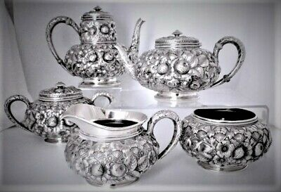 Antique Gorham Sterling Silver Repousse Tea Coffee Set 5 pc #1333 Date Mark 1890
