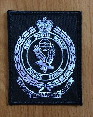 NSW Police Force Rectangle Black and White Embroidered Patch