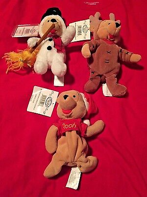 5 Disney's Winnie the Pooh Christmas Plush Eeyore Disney Store NWT Reindeer