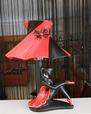 BEAUTIFUL RED & BLACK LGE BALLERINA SHAPED SHADE for BARSONY BLACK LADY LAMP