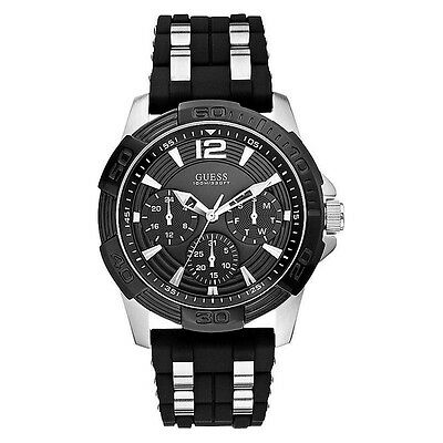 NEW GUESS WATCH Men * Black Silicone w/Silver SS Inserts * Chronograph * U0366G1