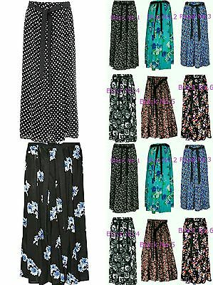 "Womens New 35""Long Maxi Floral Print Skirts With Tie Belt Viscose Size 10 to 24"