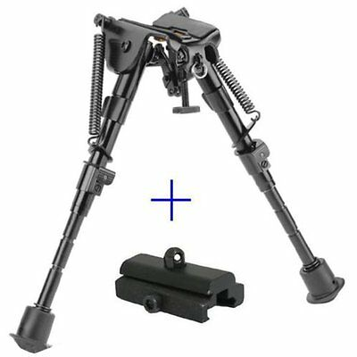 "Adjustable Hunting 6"" to 9"" Spring Return Sniper Bipod with Picatinny Rail Mount"
