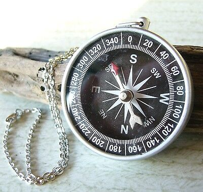 Steampunk Inspired Compass Charm Pendant Necklace Nautical Navigation