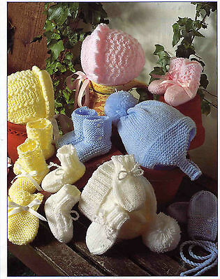 Knitting Pattern-Baby Boy or Girl- Hats bootees & mitts pattern in DK