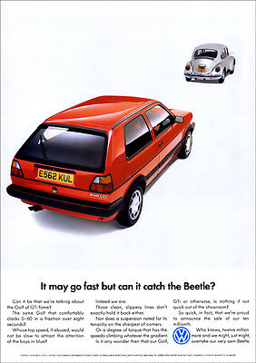 VW GOLF GTi MK2 & BEETLE RETRO POSTER A3 PRINT FROM CLASSIC ADVERT 1988