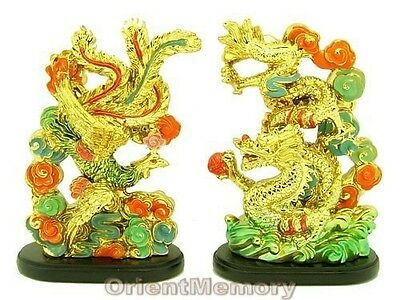 Golden Feng Shui Dragon and Phoenix - Patriarch Luck