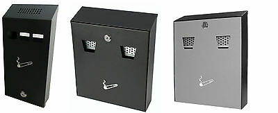 New Wall Mounted Steel Cigarette Lockable Outdoor Ashtray Metal With Spare Key