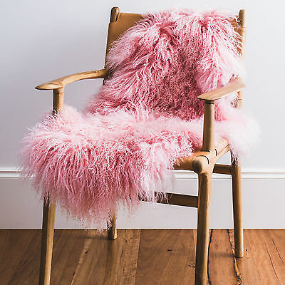 Genuine Soft & Cosy Mongolian Sheepskin Rug - Pink