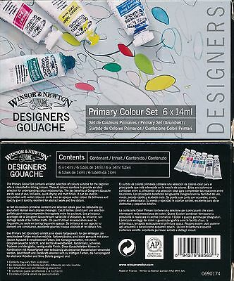 Winsor And Newton Designers Gouache Primary Colour Set 6 tubes  x 14ml NEW