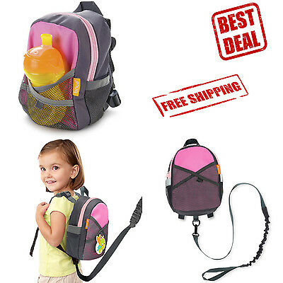 Safety Harness Backpack Toddler Baby Strap Bag Walking Kid Leash Reins Pink Gray