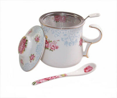 Collectable BLUE ROSE China Tea Cup with Lid, Spoon and Strainer FREEPOST NEW...