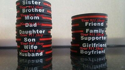 Thin Red Line Silicone Rubber Firefighter Fire Rescue Bracelet Support Family