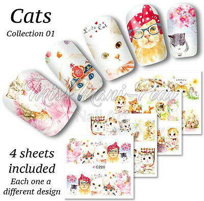 Cute Cats Full Nail Water Decals, Cat Stickers, Wraps, Transfers Z220 Multipack
