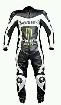 Kawasaki Black   Motorbike Complete Leather  Suit - Ce Approved Full Protection