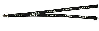 10 x Security Branded Black 90 x 1.5cm Lanyard with Free ID Holder Door Person
