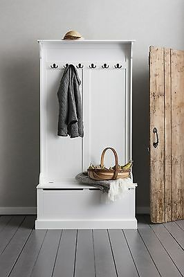 White Hall Storage Tall Stand Unit Jacket Hat Hanger Seater Store Home Wardrobe
