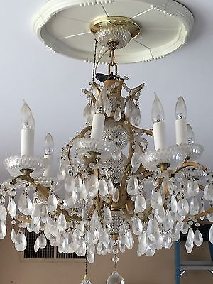 Stunning Vintage Mid Century Glass Crystal Chandelier Light Palm Springs Beauty