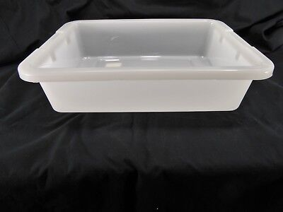 LOT OF 9 Rubbermaid White Commercial Bus Box Utility Tote 4 5/8 gallon 20x15x5