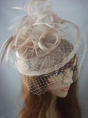 Nude Beige Sinamay Fascinator Hat With Birdcage Veil - Occasion Wedding Races