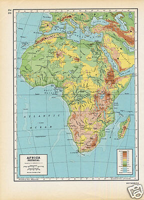 '40s Vintage Folio Topographic Map of AFRICA (Physical)
