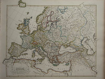 1846 SPRUNER ANTIQUE HISTORICAL MAP ~ EUROPE 16th CENTURY REFORMATION HABSBURG
